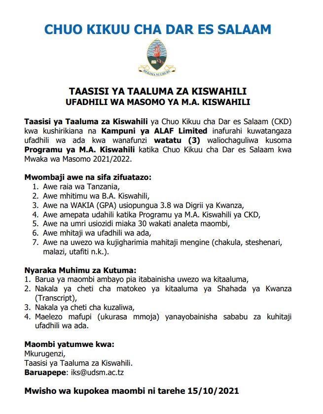 Ma Kiswahili Udsm
