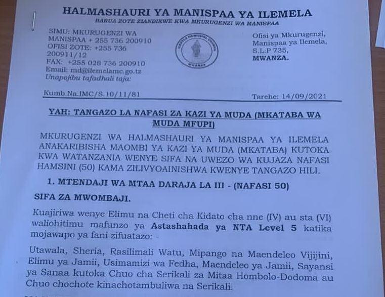 Nafasi 50 Za Kazi Ilemela Municipal Council